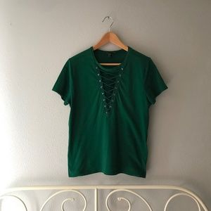 F21 Green Lace Up Tee